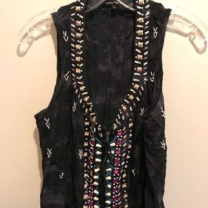 Nanette Lenore beaded zip front blouse
